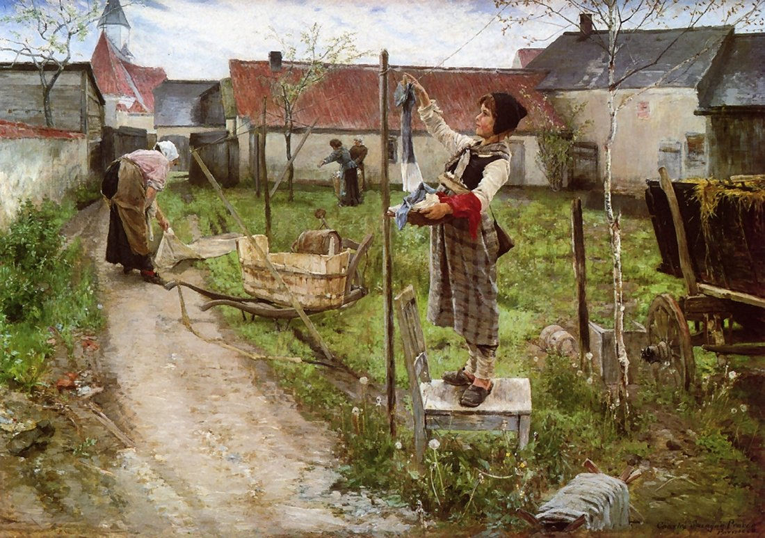 Charles  Sprague  Pearce  hanging  laundry