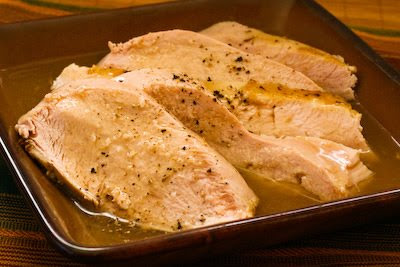 Turkey breast cooked in the slow cooker.