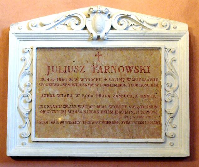 Epitafium Juliusza hr. Tarnowskiego (1864 – 1917) w kościele na Browarach w Końskich, listopad 2012. Fot. M. Brzeziński.