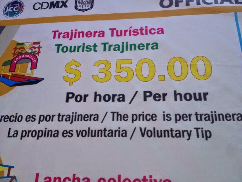 Costo oficial de las trajineras