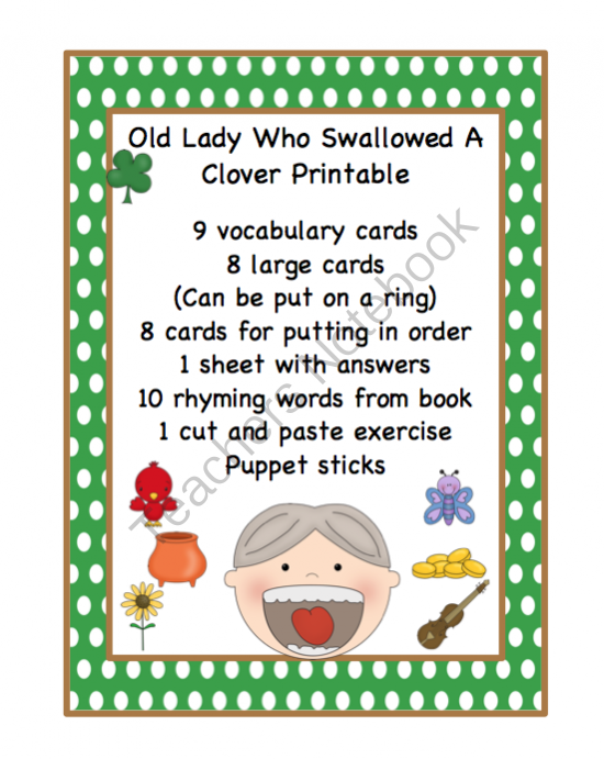 Preschool Printables: Old Lady Who Swallowed a Clover ...