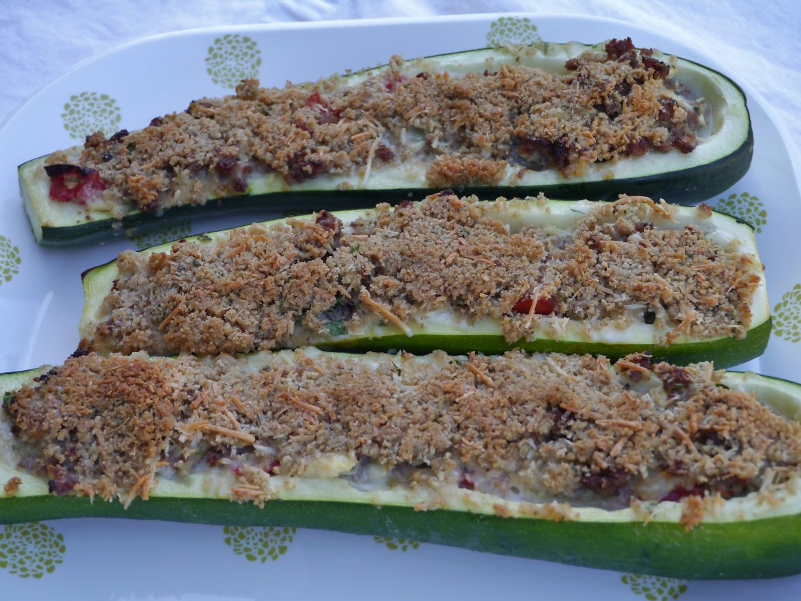 Charlotte's Fan-Fare: Sausage Stuffed Zucchini Boats