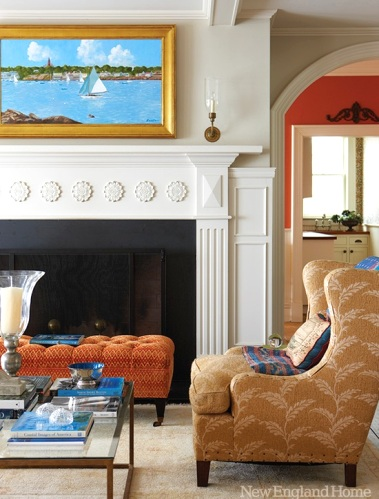 coastal living room in warm colors