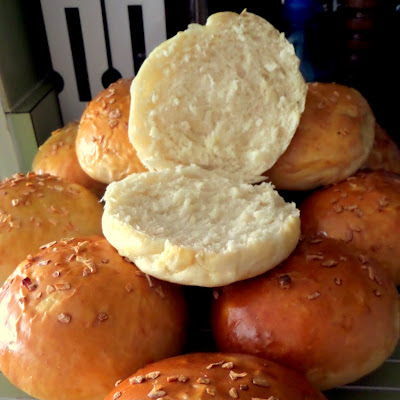 Onion Buns:  Soft and fluffy buns studded with onions