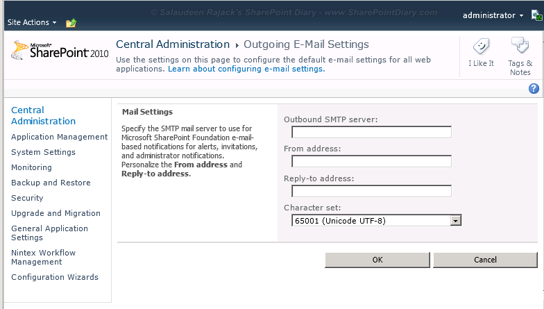 Set Outgoing E-mail Settings in SharePoint 2010