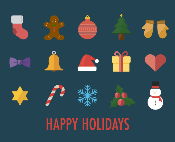 2. Happy Holidays Christmas Icons