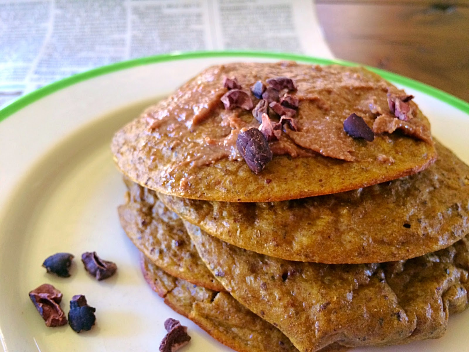 cacao chia pancakes with cacao nibs