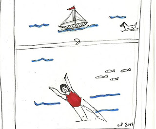 A drawing of a view from a window showing a lake, where a woman in a red bathing suit floats and a sail boat and fish go by.