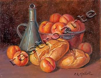 Bodegón con caldero de cobre, cacharra de aceite, albaricoques y panes