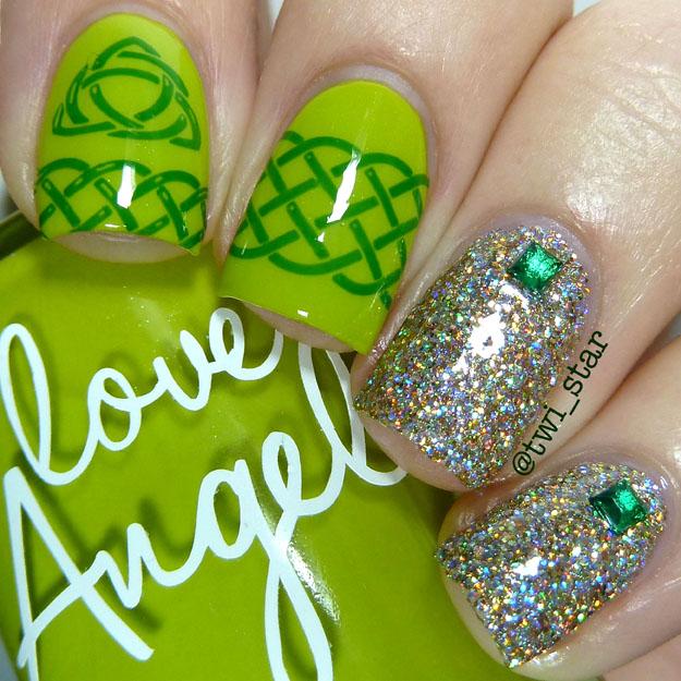 Bundle Monster Lucky Green nail stamping BM-H04 BM-H05 Love Angeline
