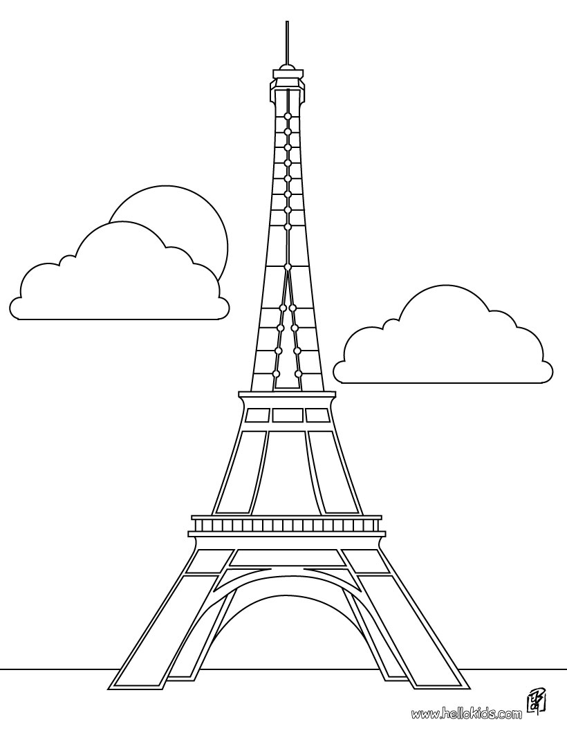 Paris Eiffel Tower Cartoon on Q Is For Quilt Coloring Page