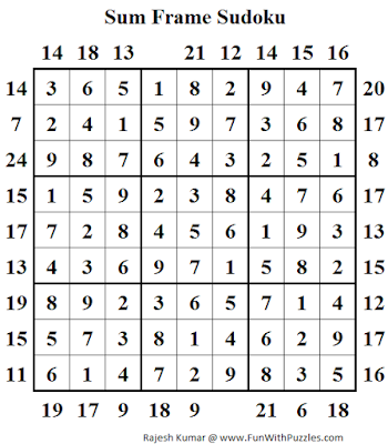 Answer of Sum Frame Sudoku (Daily Sudoku League #142)
