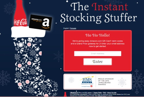 Coca Cola Instant Stocking Stuffer Amazon Sweepstakes