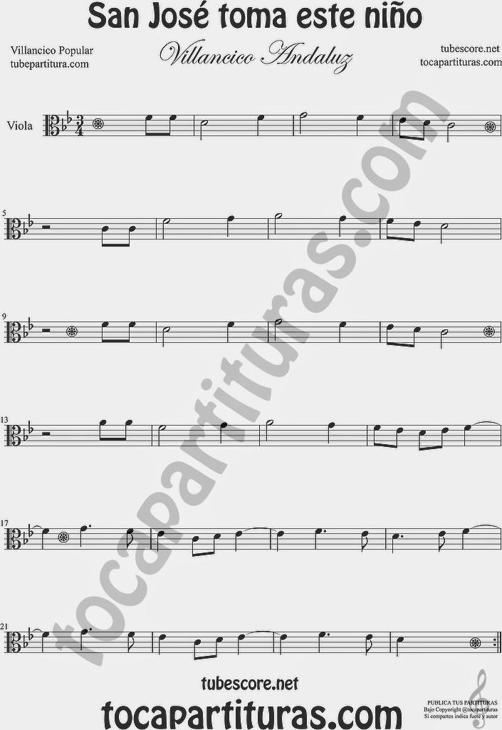 San José toma este niño  Partitura de Viola Sheet Music for Viola Music Score