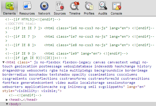 modernizr has included for each test result a seperate class in this tag for example including the class borderradius means that your browser supports
