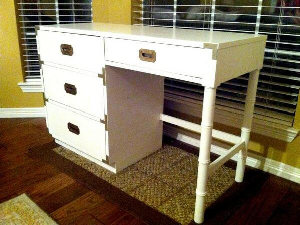 White Painted Campaign Desk