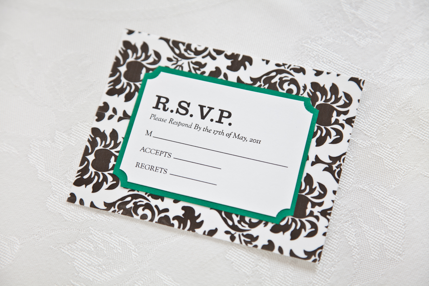 diy damask wedding invitation and rsvp card - Wedding Invitations Rsvp