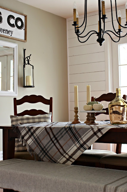 DIY farmhouse style dining room with planking and french doors - www.goldenboysandme.com