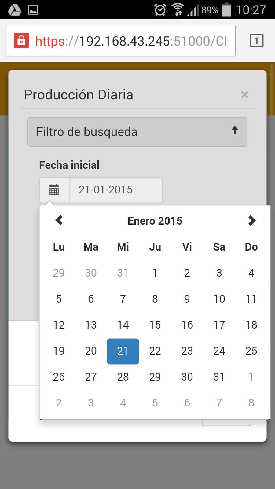 Calendario para seleccionar la fecha del informe