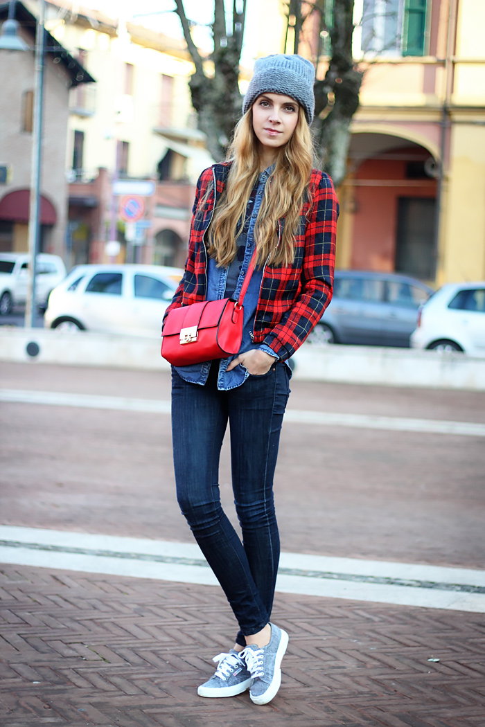 denim on denim, tartan bomber jacket, superga sneakers, oversized beanie, red bag, outfit