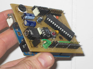 Magic Mouth speech shield v0.1 mounted on Arduino Uno