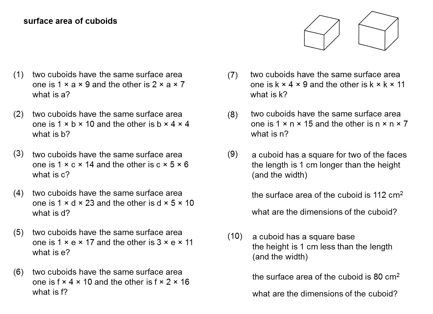 Harder Cuboid Surface Area Questions Can Involve Linear Equations, Unknown  On Both Sides And A