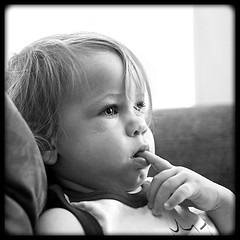 toddler watching television