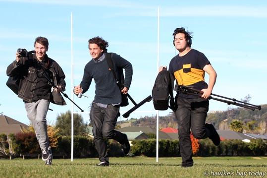 L-R: Kyle Duligall, Lachlan Morris, Brendon Tipene, Havelock North High School, Havelock North. Absent: Chavez Farquahar, Taikura Rudolf Steiner School, Hastings - year 13 students who won Best School Film, Best Cinematography, and Best Artist Direction in the 48 hours Furious Film-making competition. photograph