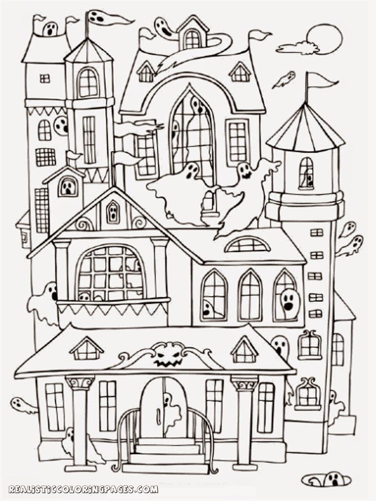 Halloween haunted house coloring pages realistic for Coloring pages of haunted houses