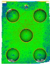 Resultados de escaneado de un patrón del escáner 3D EVA, para la digitalización de objetos medios