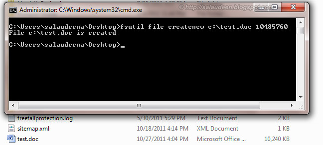 Create a File in Specific Size for Testing