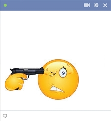 Suicidal smiley holding a gun to his head