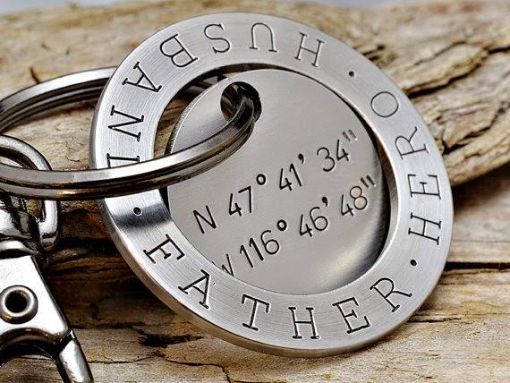 personalized Dad longitude and latitude key chain