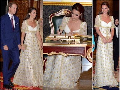 Gold Dress on Gold Dress To A State Dinner Thrown By Rulers Of Malaysiaat Istana