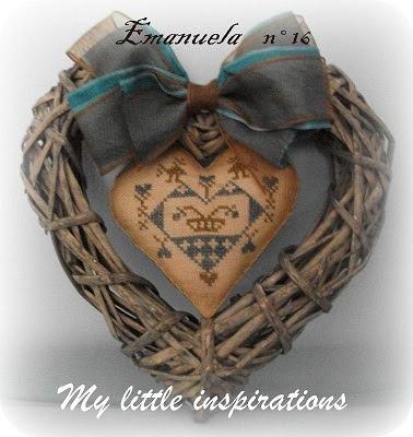 Heart cross stitch wreath
