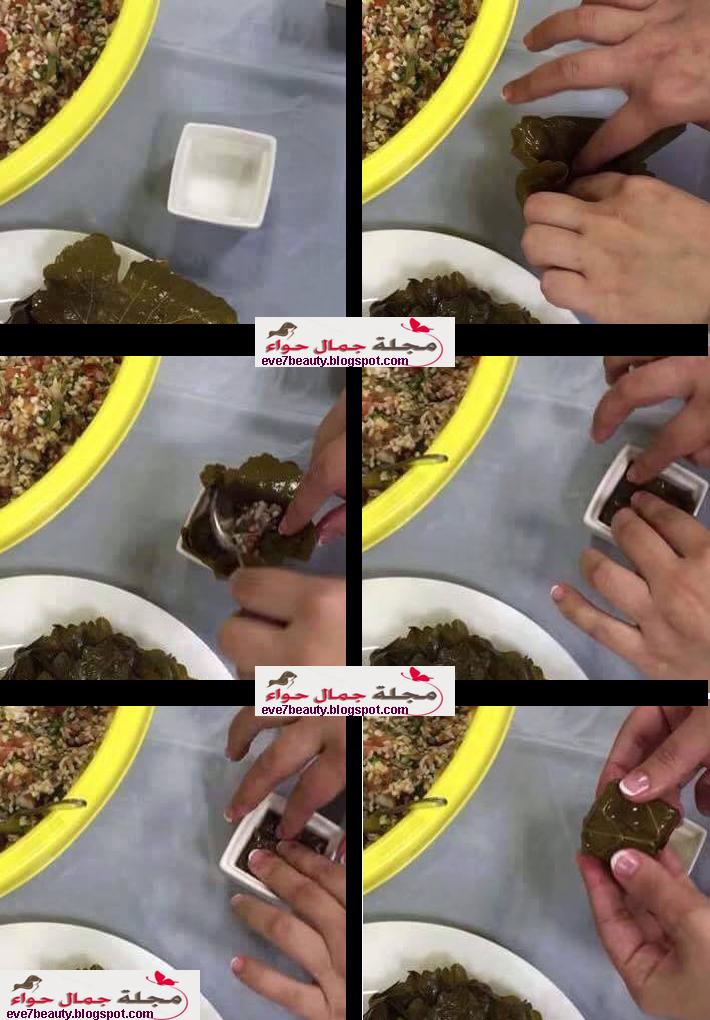 بالصور: فكرة وطريقه جديدة لعمل محشى ورق العنب المربع