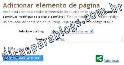 adicionar elemento de pagina no blogspot