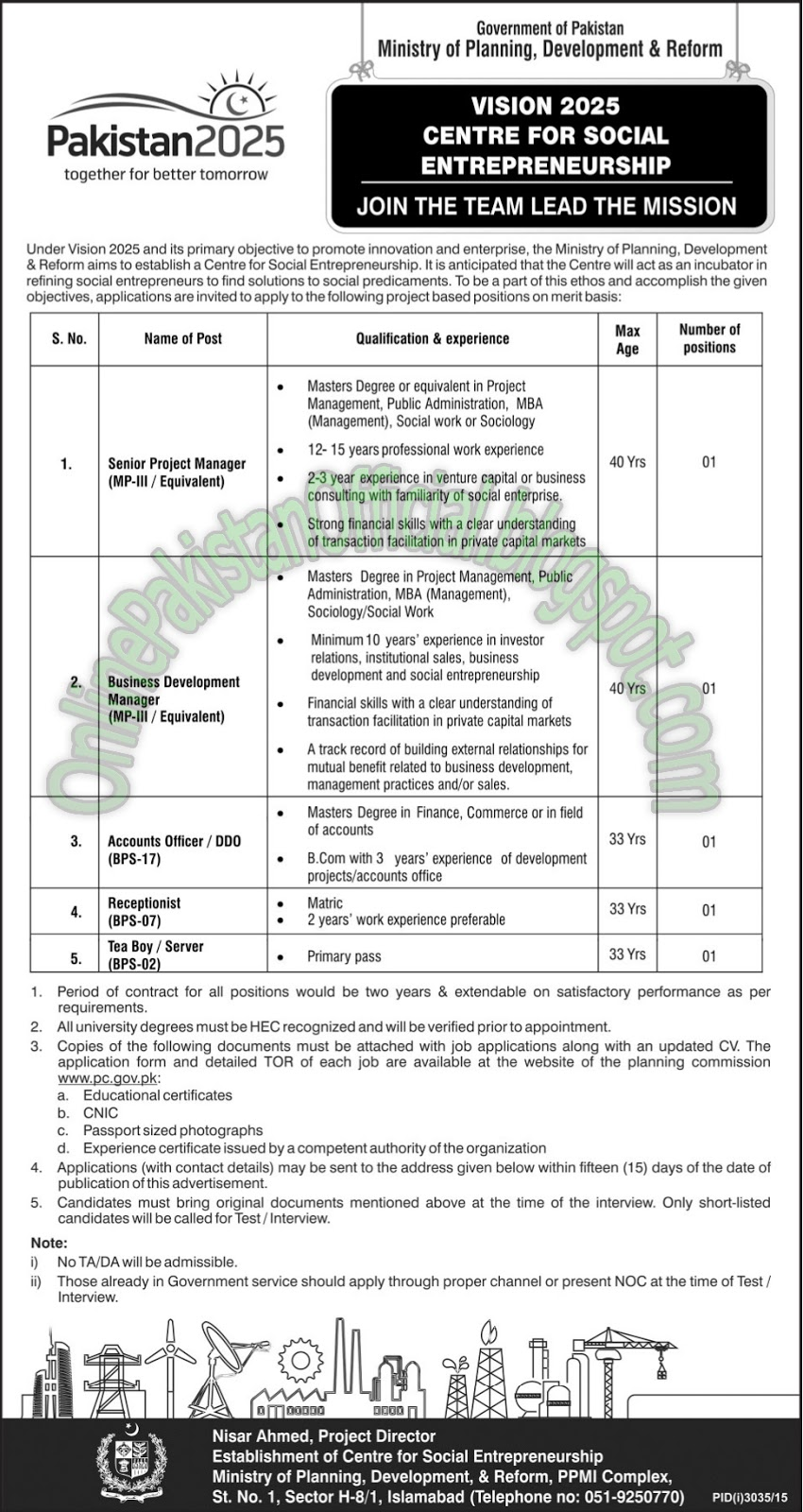 Ministry of Planning, Development&Reform jobz islamabad