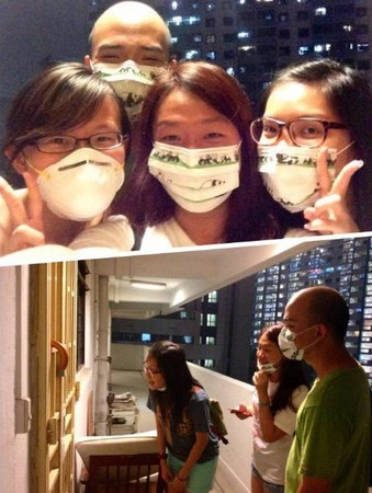 "Volunteers from Facebook group ""SG Haze Rescue"" going door-to-door to give out N95 masks to those in need"
