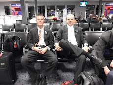 Waiting at the airport with Elder Rasmussen