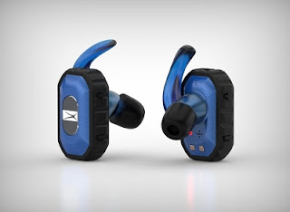 Picture of a pair of blue Freedom True Wireless Bluetooth Earbuds.