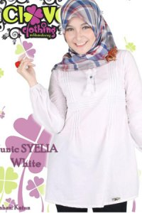 Clover Clothing Blus Syelia - White (Toko Jilbab dan Busana Muslimah Terbaru)