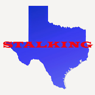 Map of Texas covered by the word stalking.