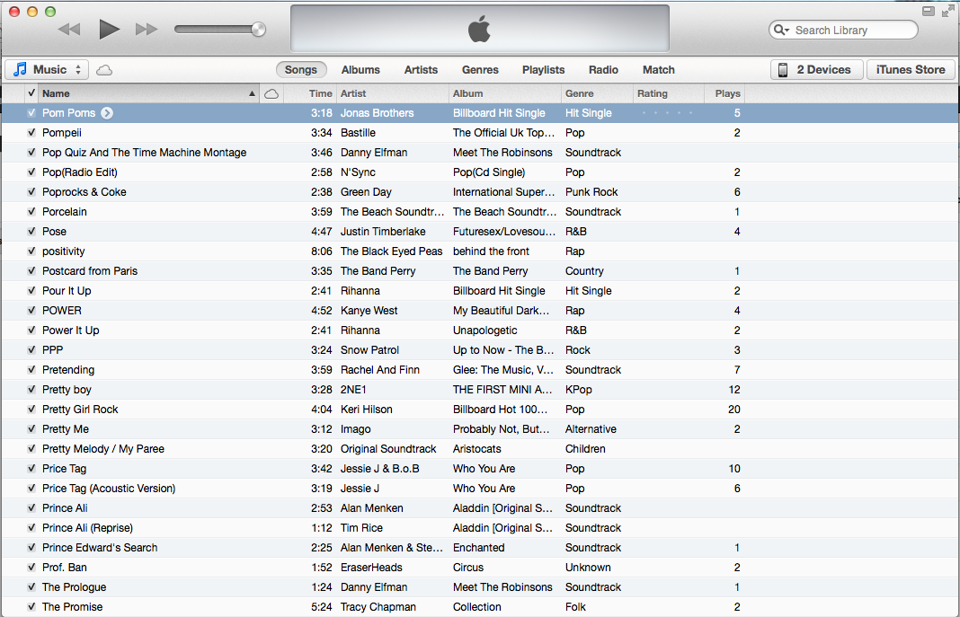 how to find size of itunes library
