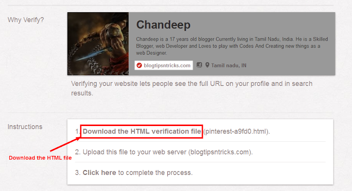 pinterest verification file download