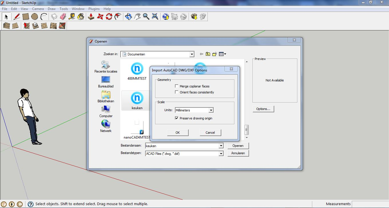how to open a sketchup file in solidworks