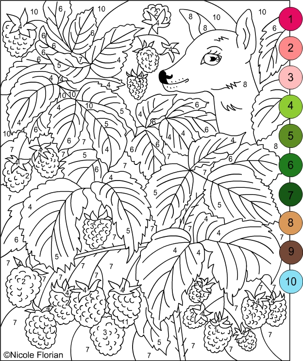 color by numbers strawberries and raspberries coloring pages