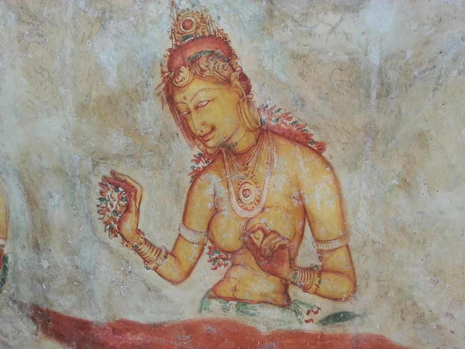 Прекрасная девушка древней Ланки обнаженной грудью, фрески Сигирии, держит руке цветы, ожерелье