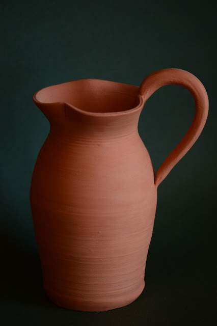 ceramics by amy myers, photography by amy myers, oinochoe, pitcher, earthenware, unglazed