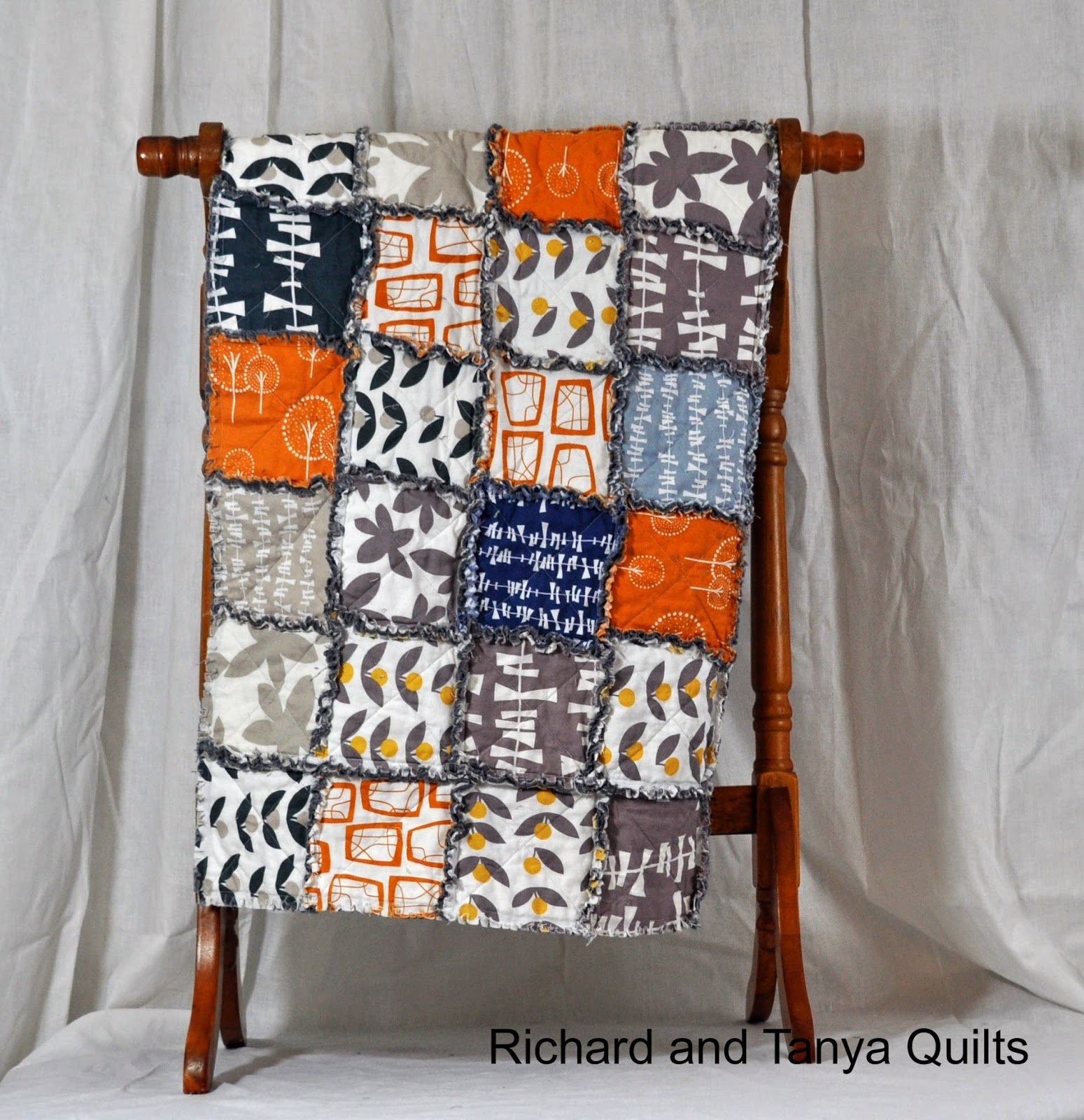 Richard and Tanya Quilts: Orange, Gray, Yellow and Blue Glimma Rag ... : blue and orange quilt - Adamdwight.com